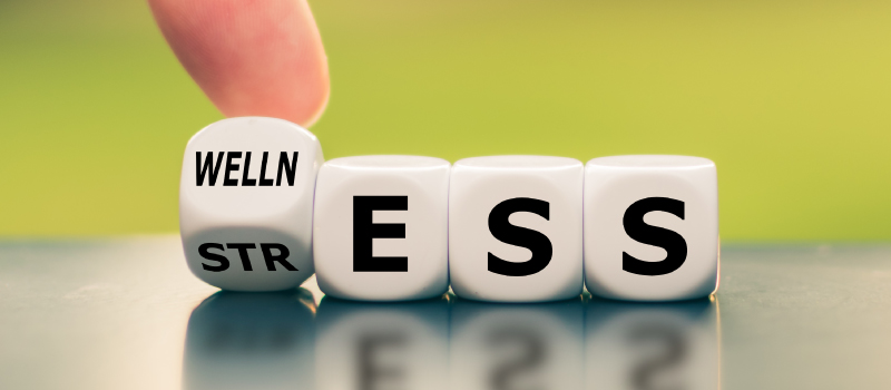A finger turns letter blocks from STRESS to WELLNESS